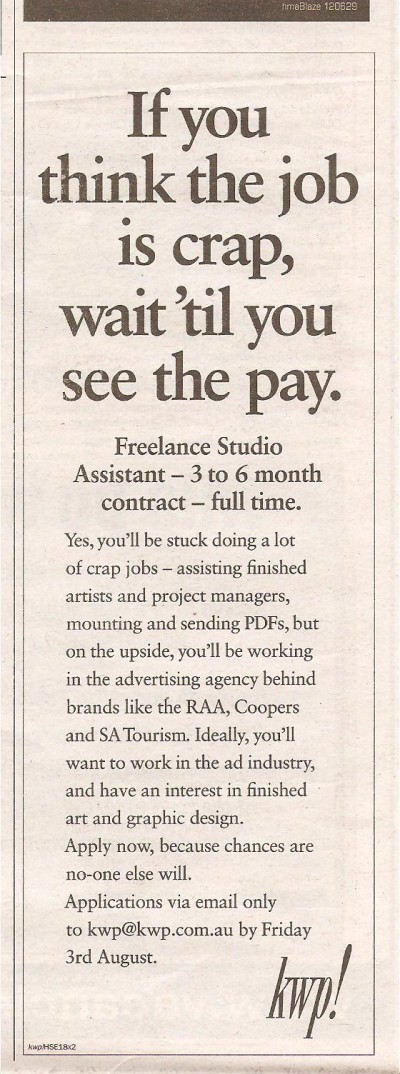 CrapJob creative job ad