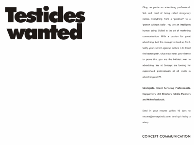 testicles wanted creative job ad