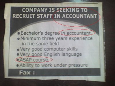 Funny Wanted Ad - Accountant Staff