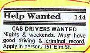 Cab drivers wanted