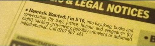 Funny Wanted Ad - Nemesis