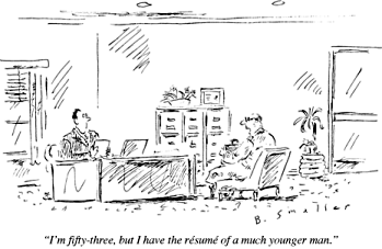 Older job seeker cartoon