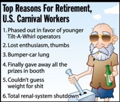 top reasons for retirement US carnival workers