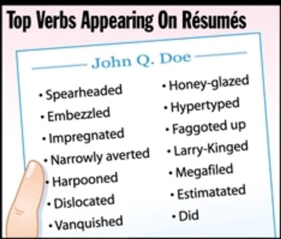 top verbs appearing on resumes