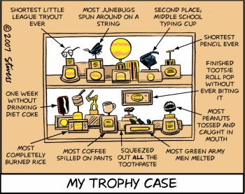 Trophy case cartoon from Mark Stivers