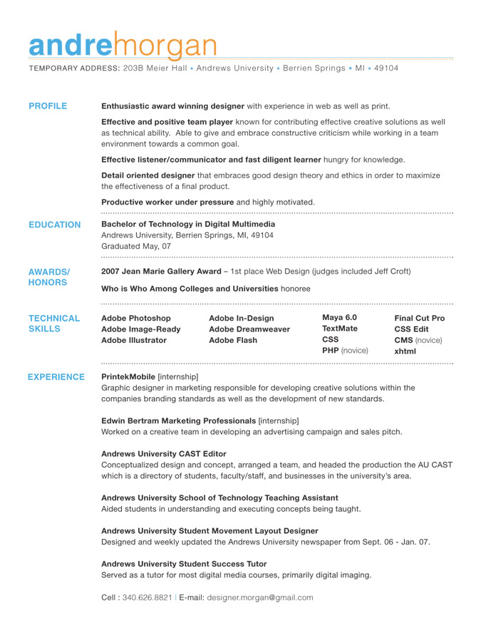 Resume Good Qualities Creative
