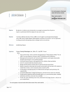 Joe Hickman beautiful resume