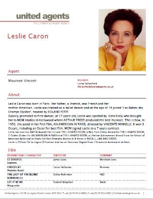 leslie caron actor resume