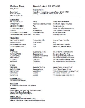 matthew black actor resume