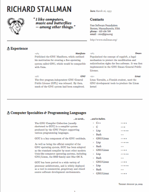 Richard Stallman print resume