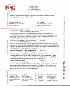 Rick Herzog beautiful resume