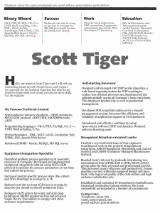 Scott Tiger beautiful resume