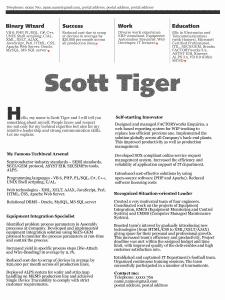 Scott Tiger beautiful resume