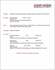 Veronica Andujar beautiful resume