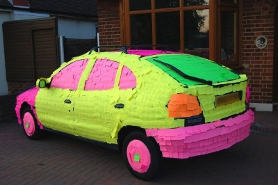 Sticky note covered hatchback