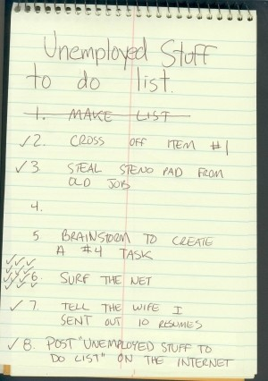 funny Unemployed to do list