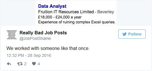 bad data analyst job ad tweet