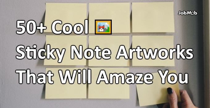 Sticky notes on a wall in a 3x3 formation