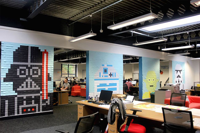 Star Wars sticky notes office wall