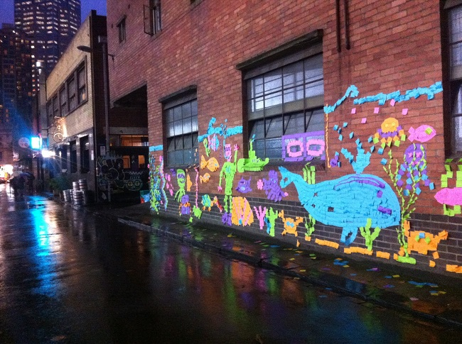 sticky note outdoor mural