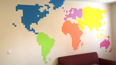 sticky note wall map