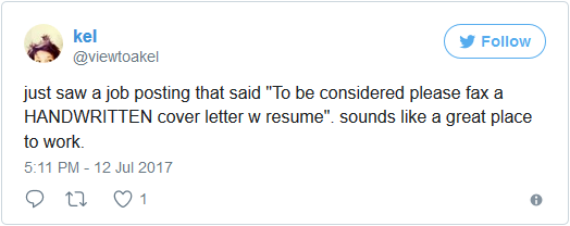 tweet about faxing handwritten cover letter