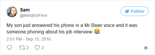 son job interview answers phone as mr bean