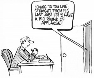 announcing job interview cartoon