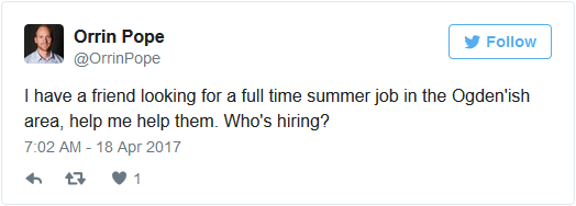 friend looking summer job tweet
