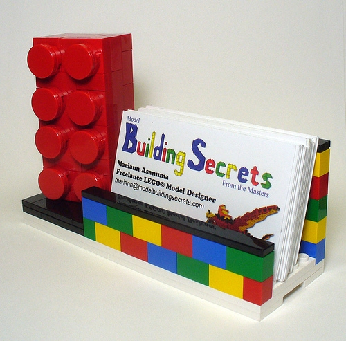 lego brick business card holder