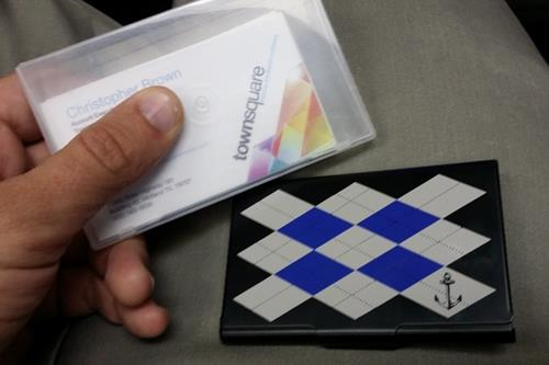 luxurious argyle with anchor business card holder