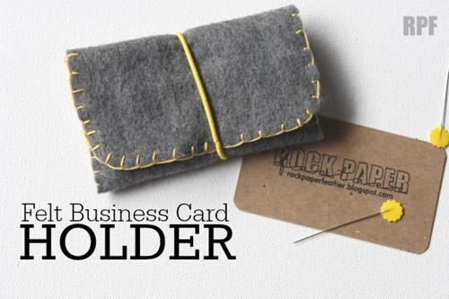 rock paper feather business card holder