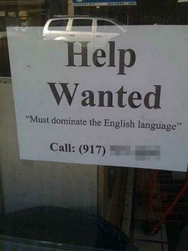 english language funny job ads