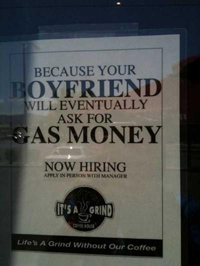 gas money funny job ads