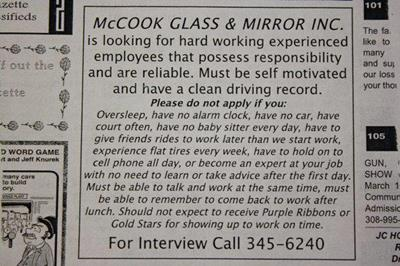 mccook glass funny job ads