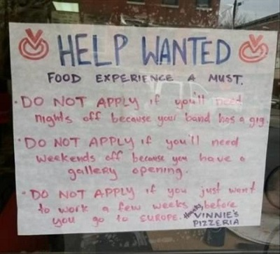 pizzeria funny job ads