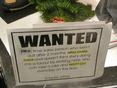 sales person funny job ads