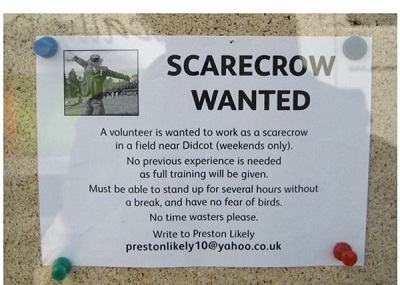 scarecrow funny job ads