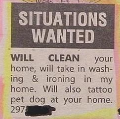situations wanted funny job ads