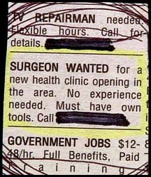 surgeon wanted funny job ads