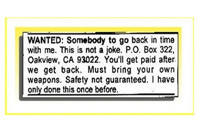 turn back time funny job ads