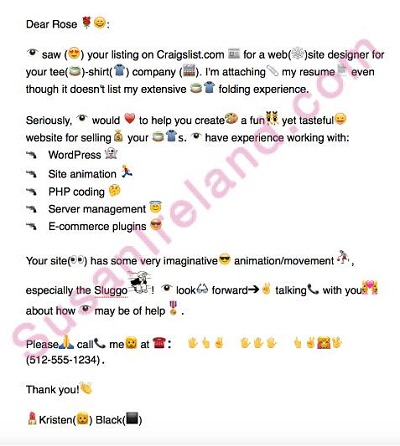 emojis in a resume cover letter sample