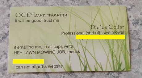 lawn mowing business card