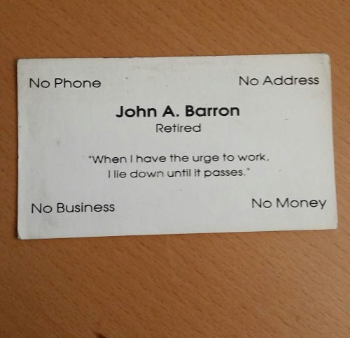 retired business card