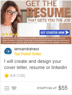 sample gig Top Rated Fiverr Seller for Resumes