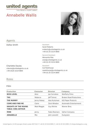 annabelle wallis acting resume