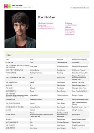 ben whishaw acting resume