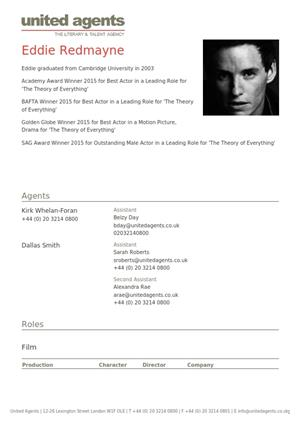 eddie redmayne acting resume