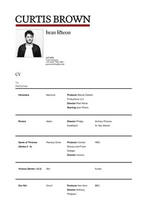 iwan rheon acting resume