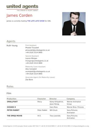 james corden acting resume